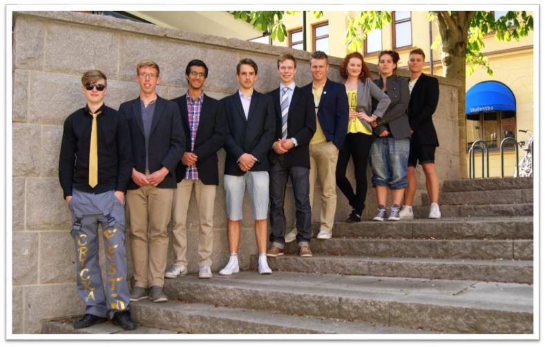 Styrelsen 12-13, från vänster: Cristoffer Särevall, Edvard Davidsson, Akshay Kara, Alexander Jonsson, Aron Cleveson, Oskar Käll, Frida Carlsson, Nicitha Ihrström, Anton Persson